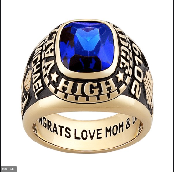 SAMPLE OF CLASS RING WITH BLUE STONE