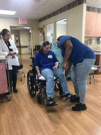 Individual in wheelchair at Providence