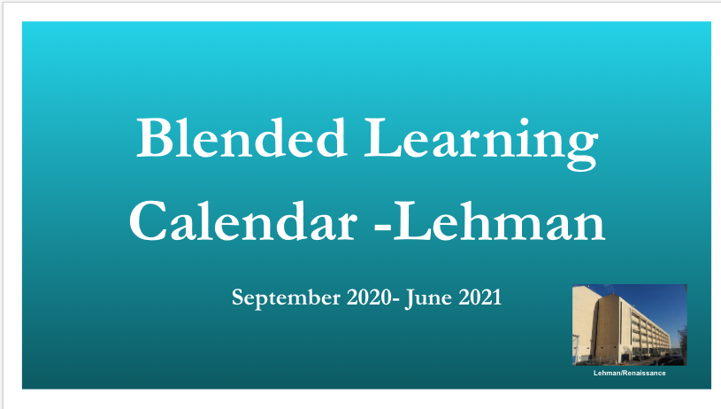 BLENDED LEARNING CALENDAR LEHMAN