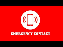 Emergency contact cell phone on red background