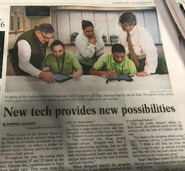 """Newspaper clipping of """"New tech provides new possibilities"""""""