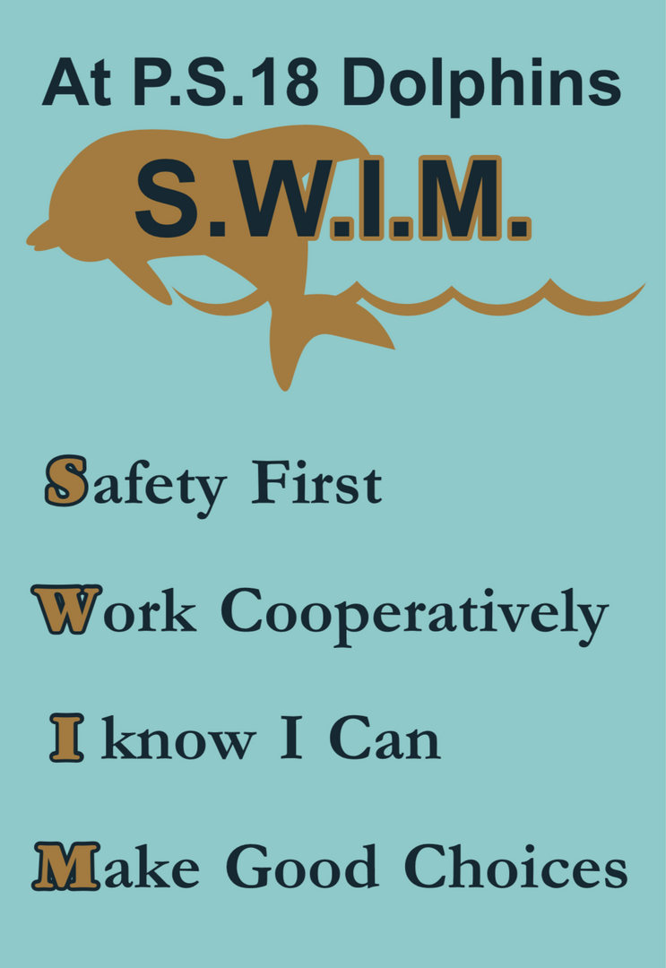 At P.S. 18 Dolphins SWIM - Safety first, work cooperatively, I know I can, make good choices