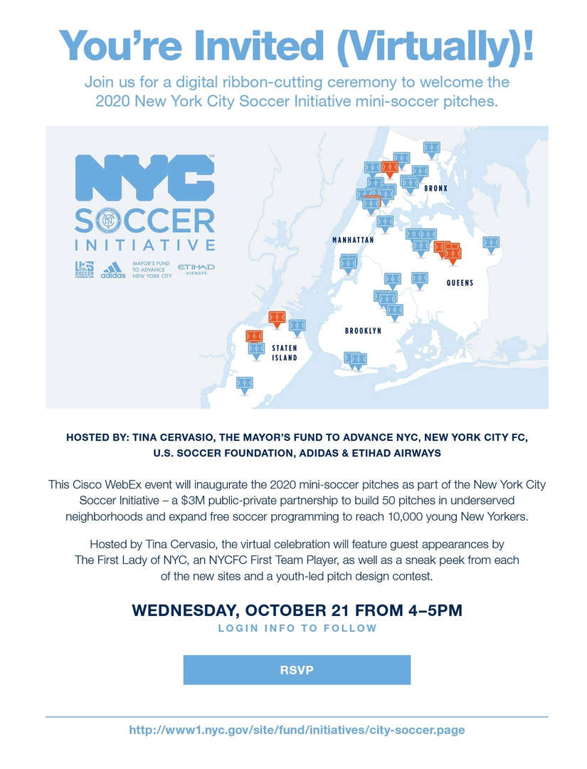 Virtual Invitation to the NYC Soccer Initiative Event on Wednesday October 21st from 4 - 5 pm