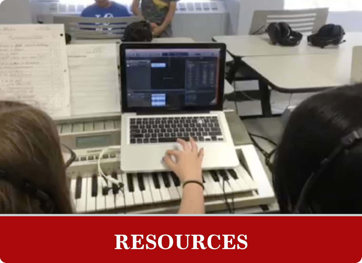 Resources: Students working on a computer