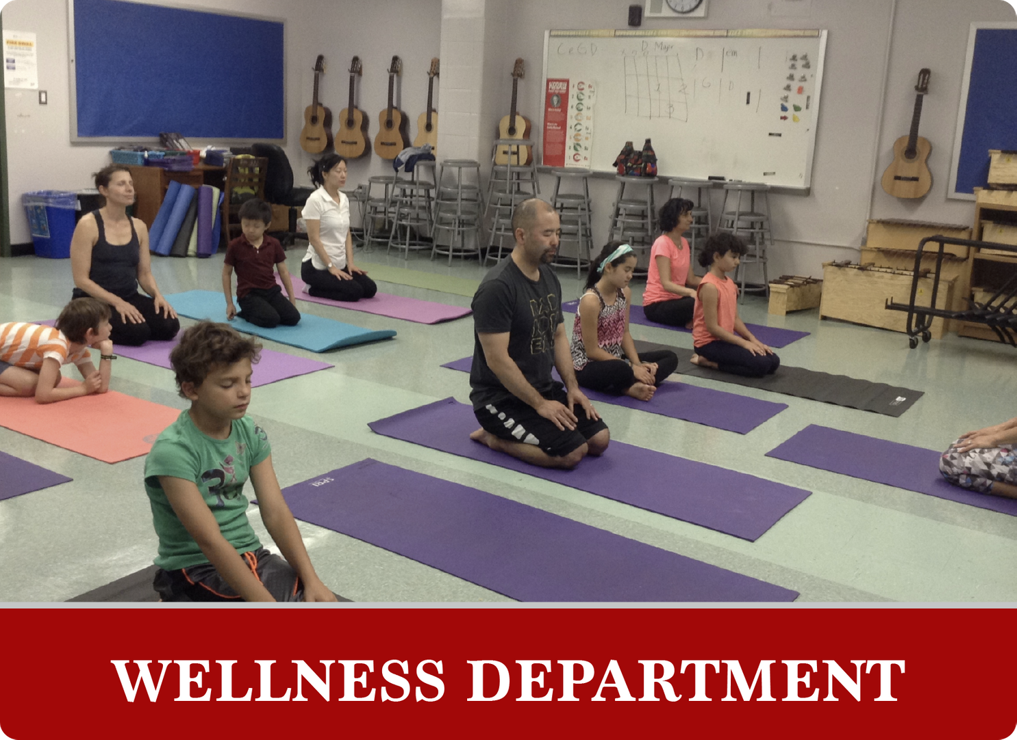 Wellness Department: Students and teachers doing yoga
