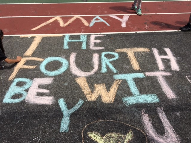Chalk on ground says May the fourth be with you