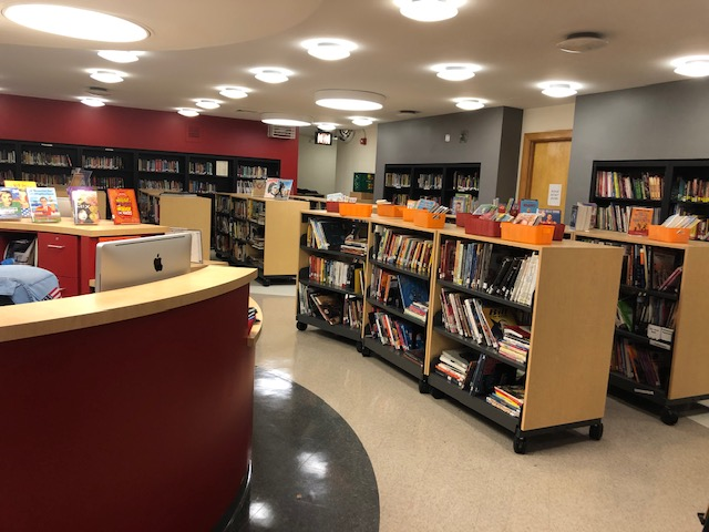 Bookshelves in the library