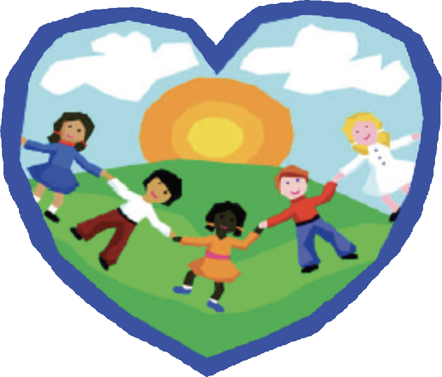 Illustration of children holding hands inside a blue heart