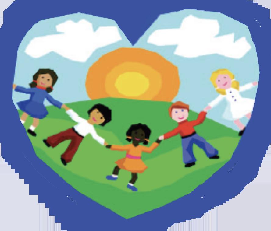 Illustration of children holding hands inside a blue heart