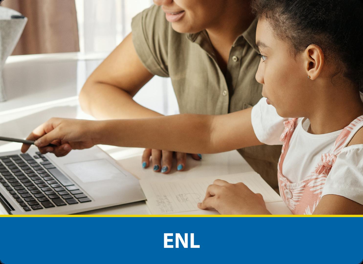 ENL: Student gestures to laptop beside teacher
