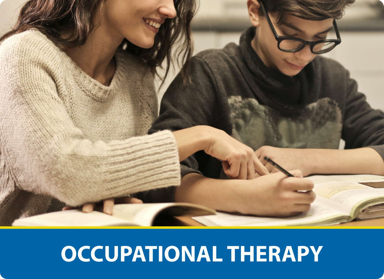 Occupational Therapy: Teacher reading with student