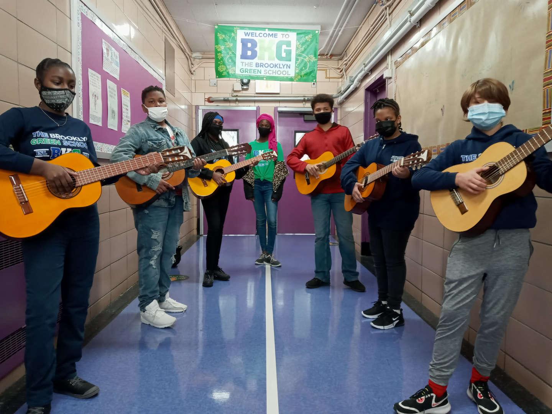 Guitar club students