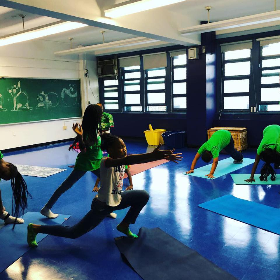 Students in yoga class