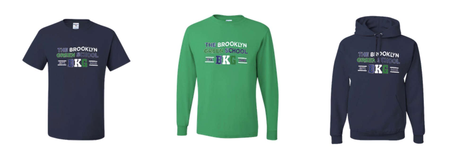 BGK apparel: a t-shirt, long tee, and hoodie
