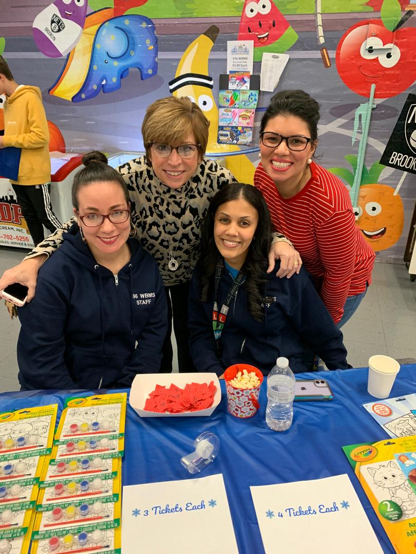 Principal, PTA President, and Teachers at PTA Winter Wonderland 2019 Event