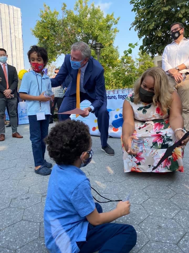 Kindergarten students meet Mayor Bill de Blasio & Chancellor Meisha Porter.