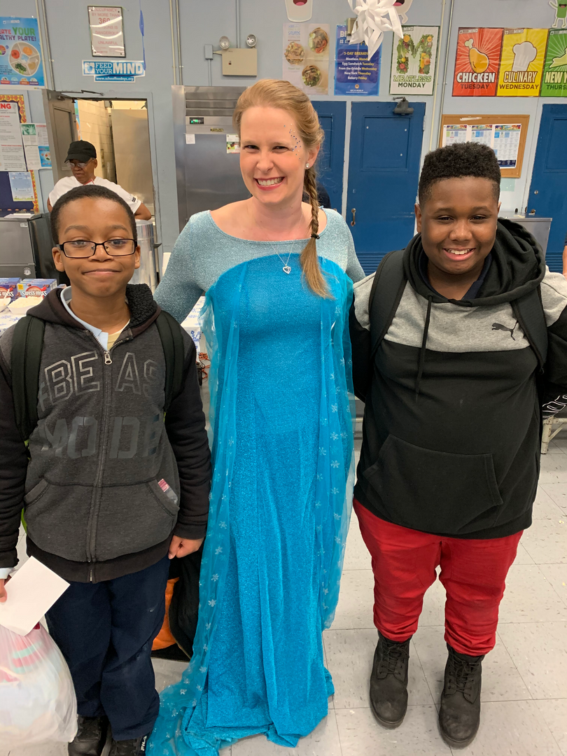 Boys pose with Frozen's Elsa at PTA Winter Wonderland 2019 Event