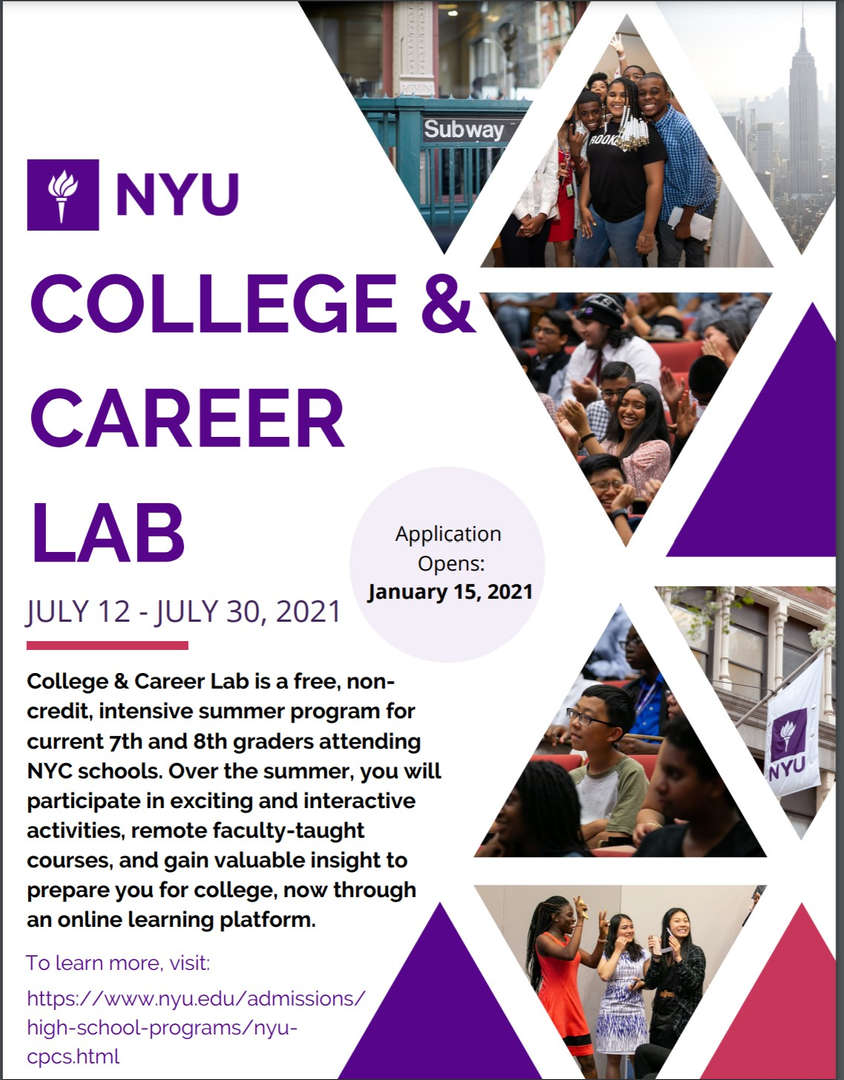 NYU College and Career lab information for current 7th and 8th graders