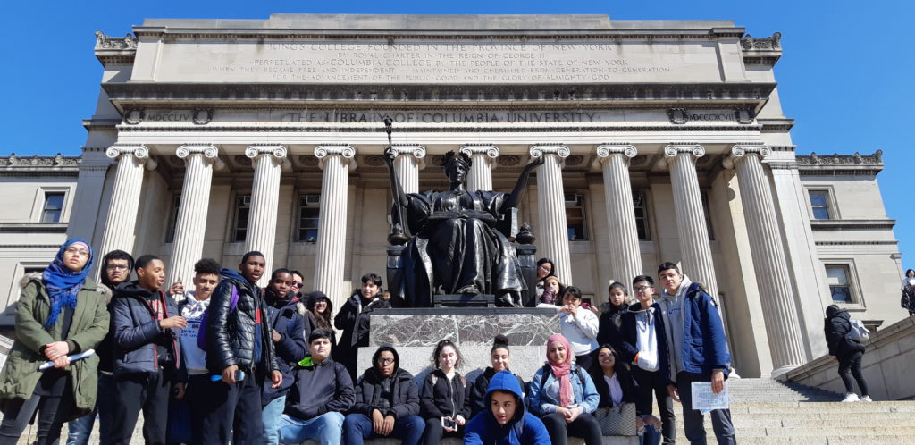 10th Grade students on the steps of Columbia University's library