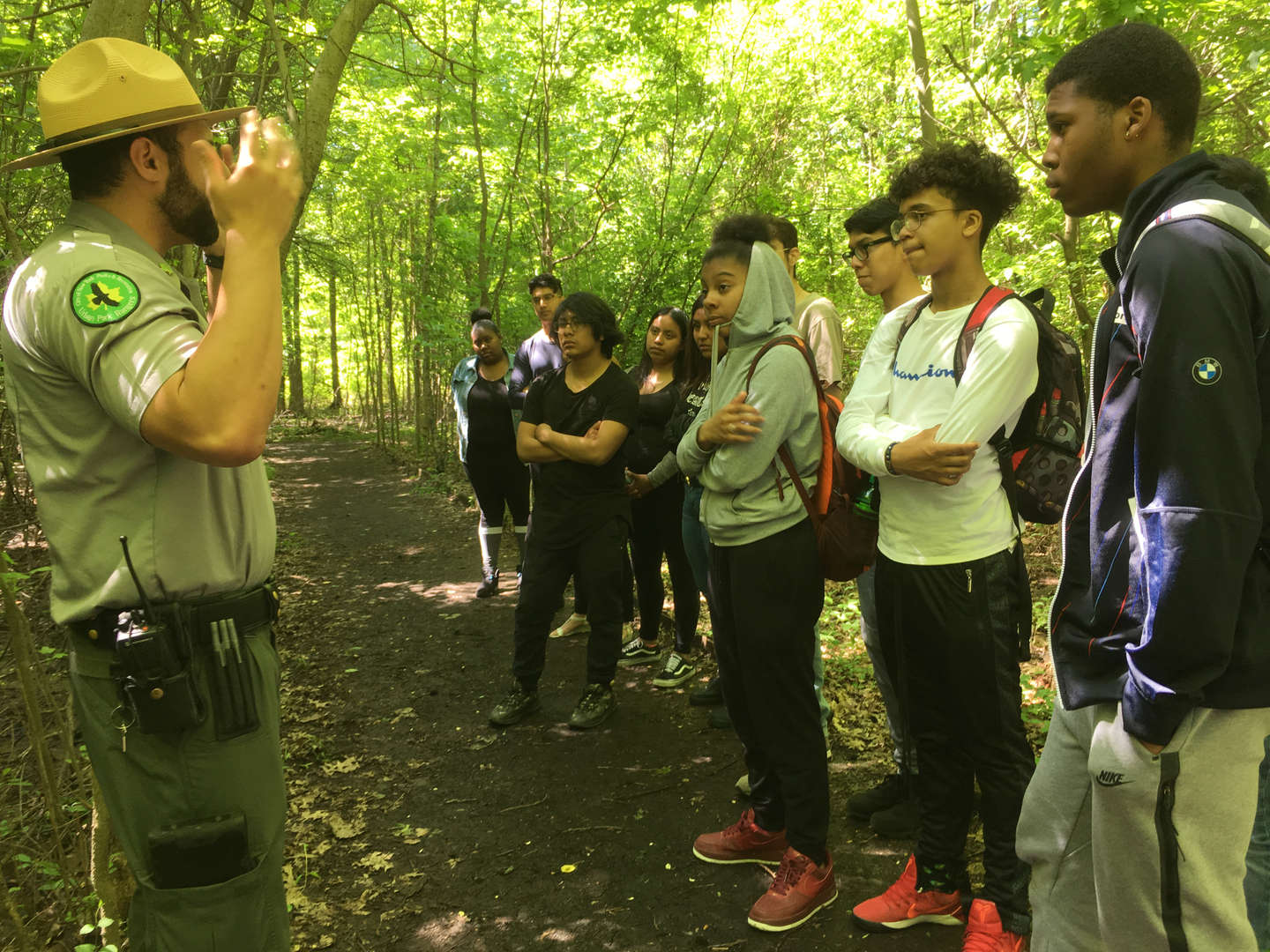 Students talking to a park ranger