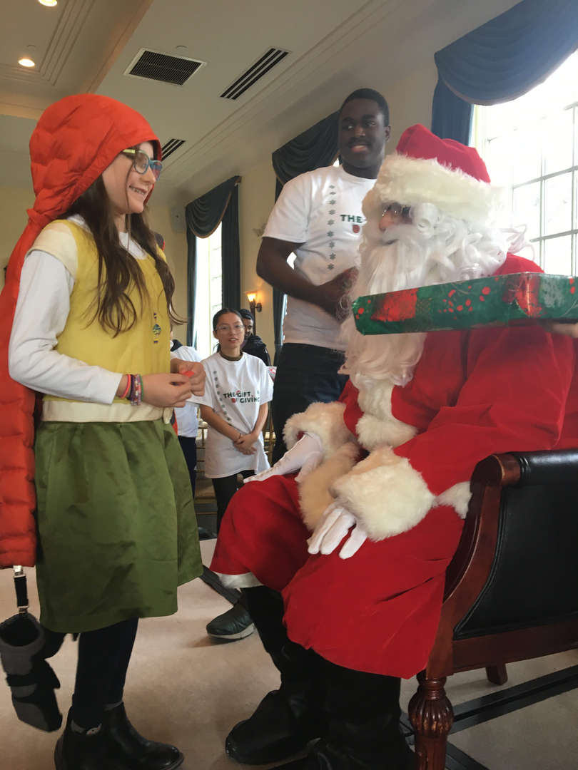 Girl talking to Santa