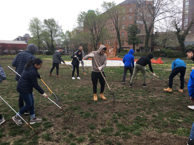 A group of students hard at work raking