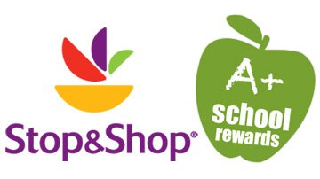 "Stop & Shop and ""A+ school rewards"" in a green apple"