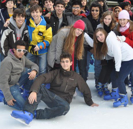 Students together at an ice-skating rink