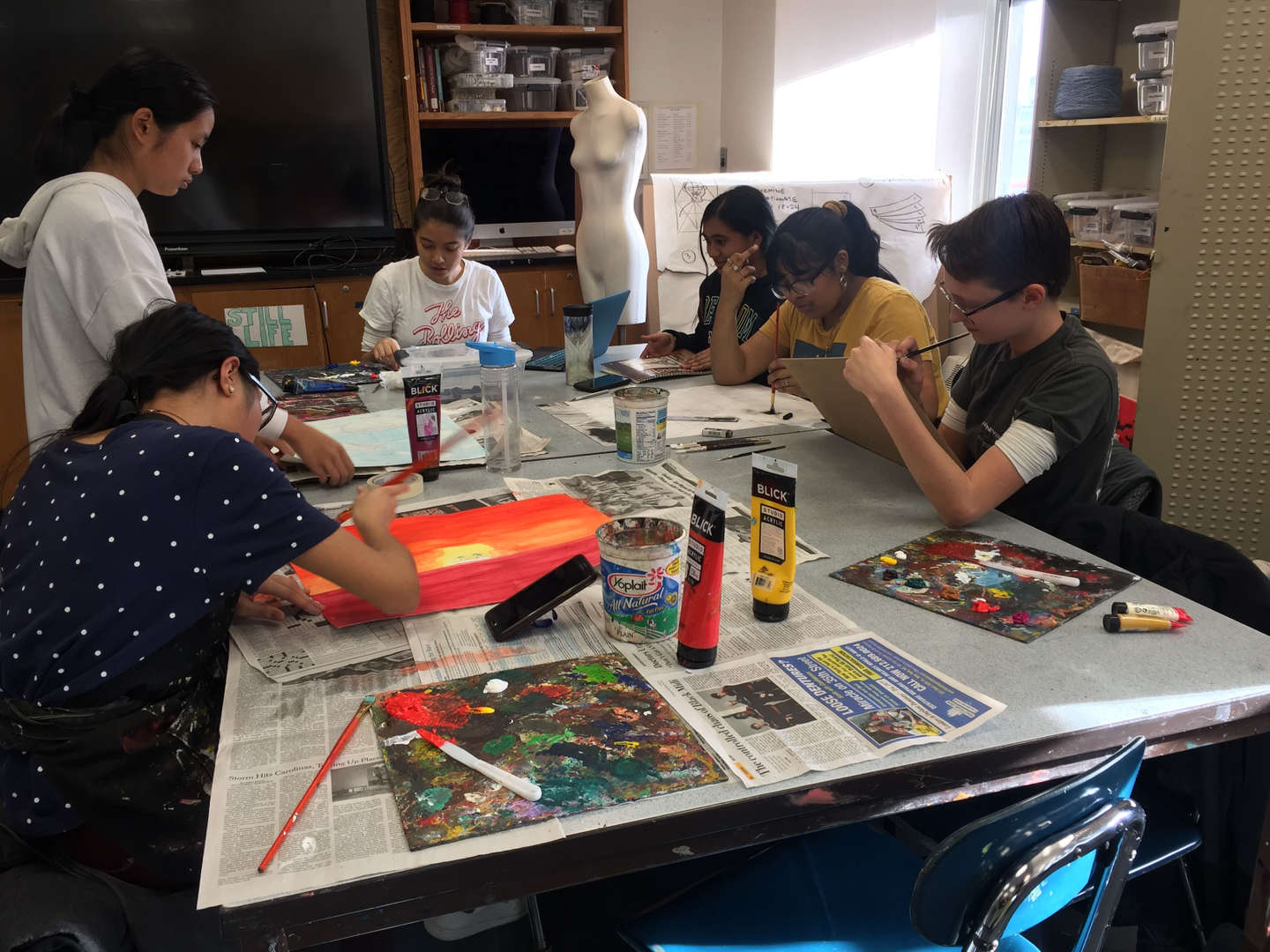 Students working on art projects