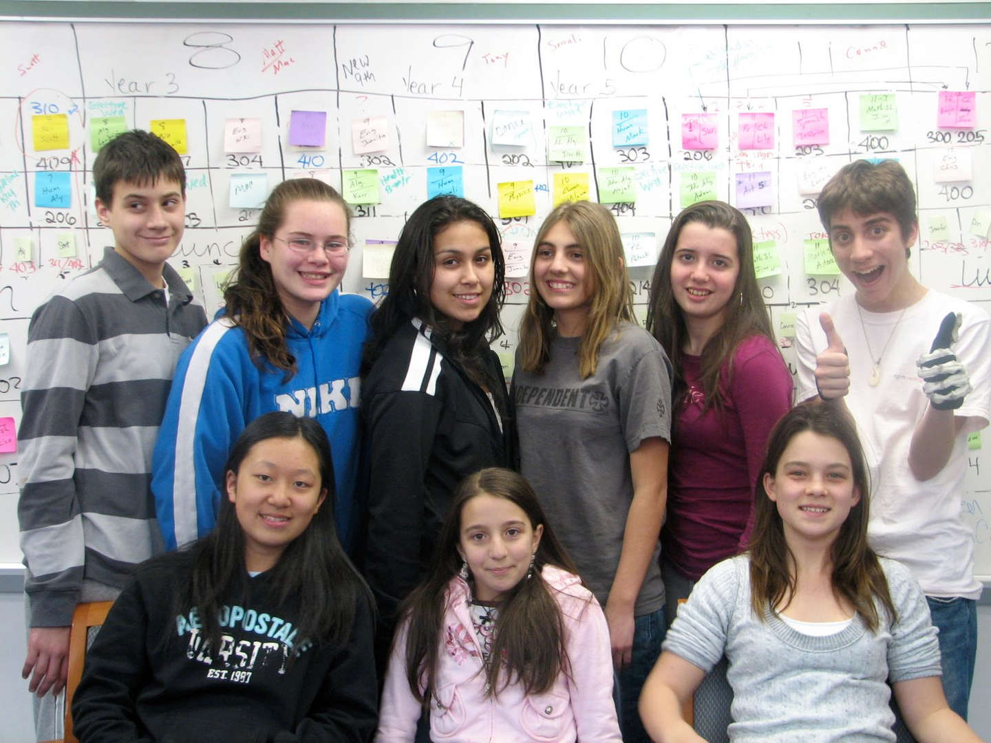 Students smile in front of a complex diagram dotted with sticky notes