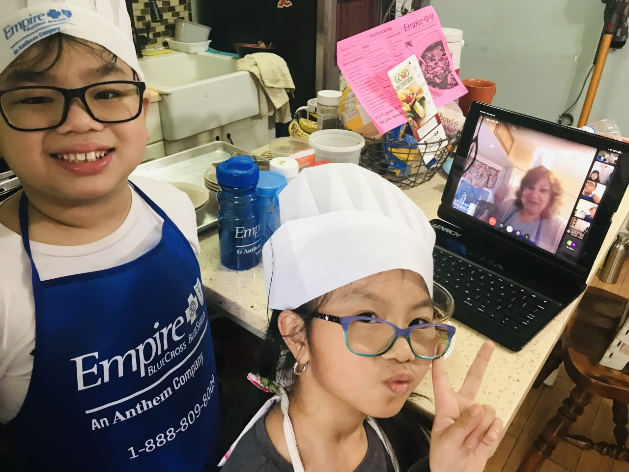 Siblings are ready to cook chicken chili.