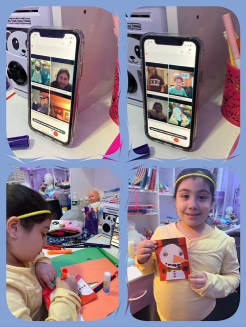 Students display their holiday craft