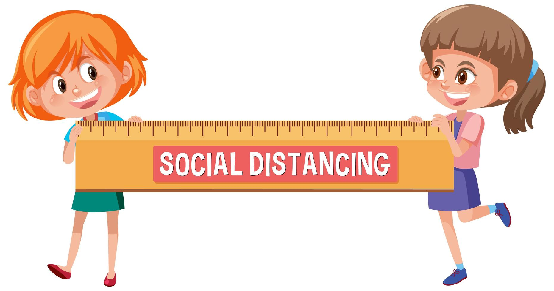 """Two kids holding a sign that reads, """"Social Distancing"""""""