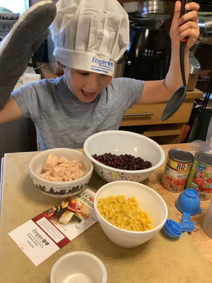 Student ready to cook a healthy recipe.