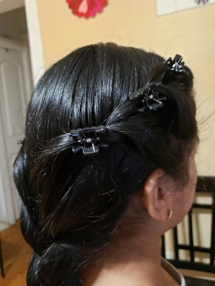 Student's hair at our Learn to Do Hair workshop.