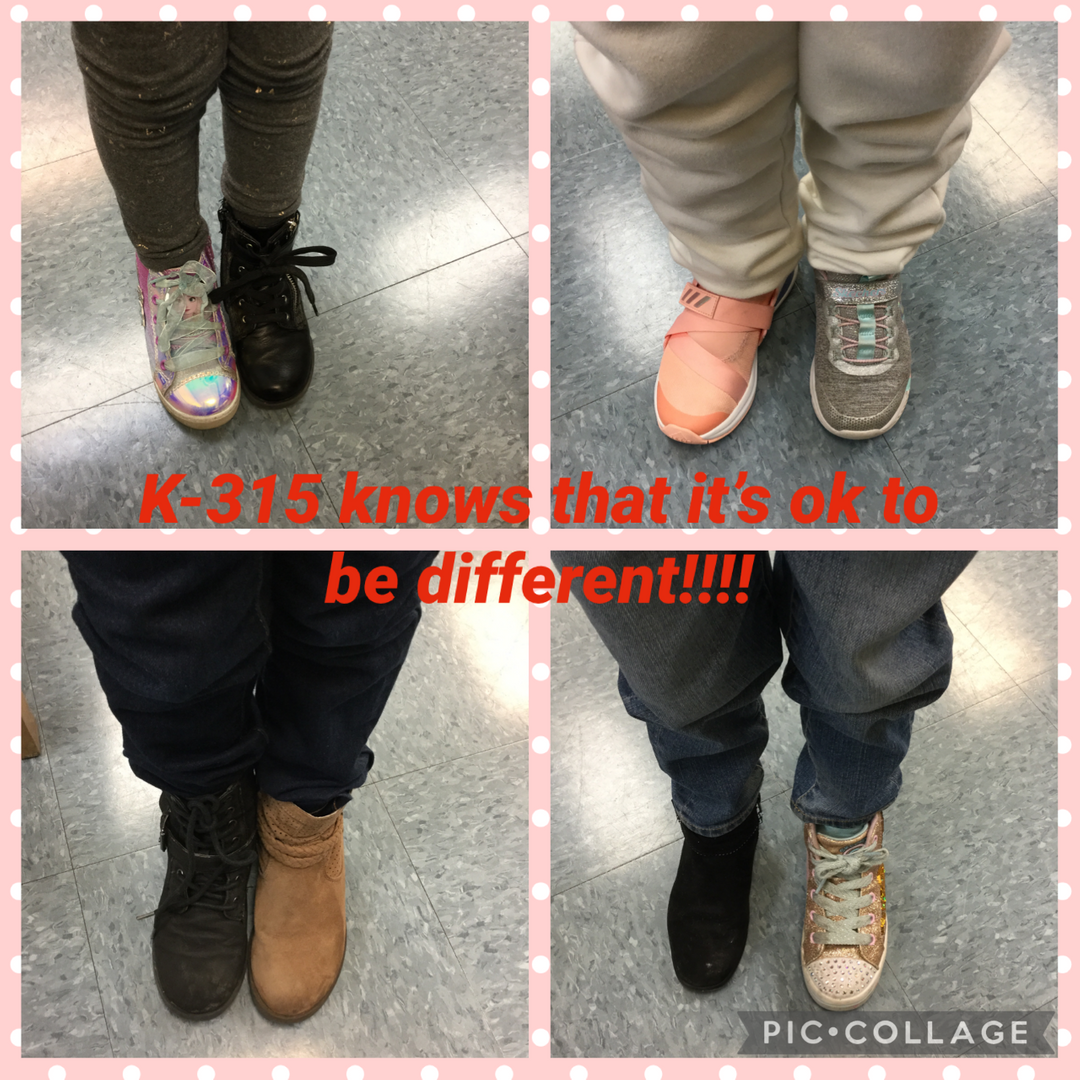 Students in K-315 wearing different shoes.
