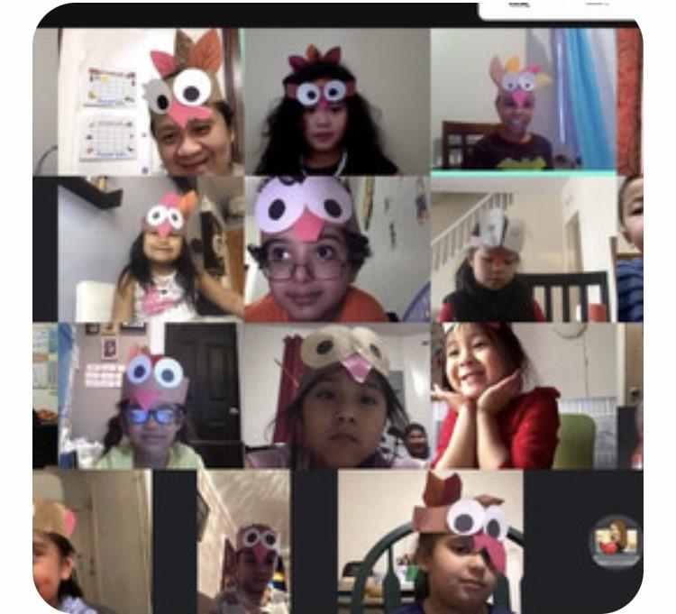 Kindergarten wears their paper turkey hats