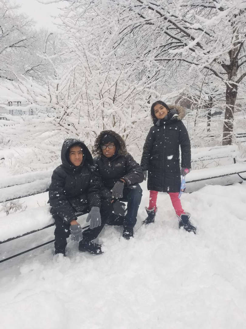 Ramnath family in the snow.