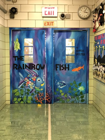 The Rainbow Fish painting on two doors