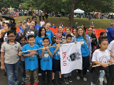 Student soap box derby drivers and teachers of P.S. 10R