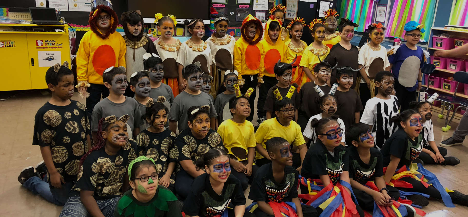 Students in the classroom dressed in costumes