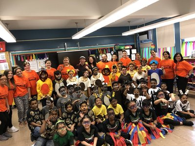 Students dressed up for Lion King