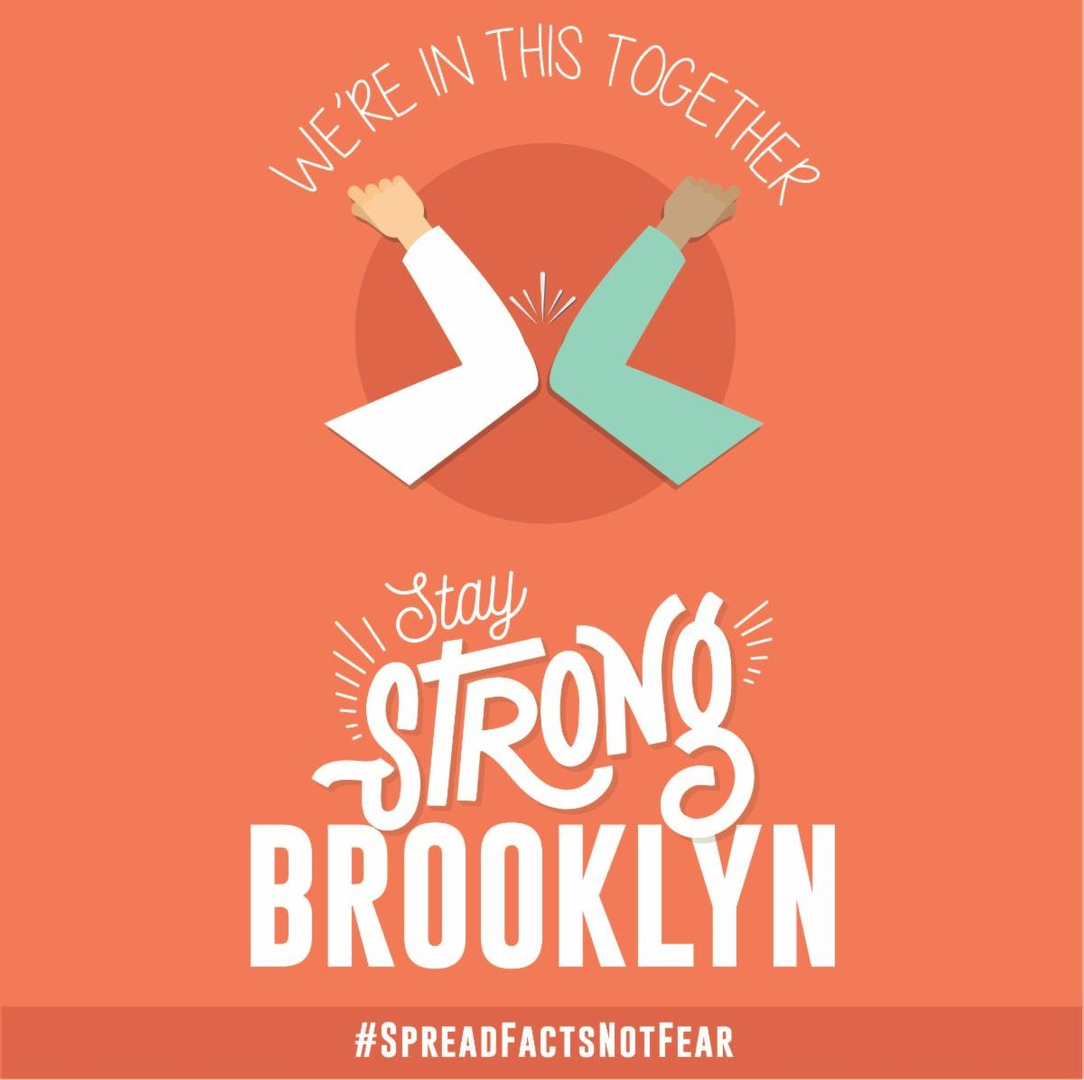 Two arms elbow-fiving: We're in this together. Stay strong Brooklyn. #SpreadFactsNotFear