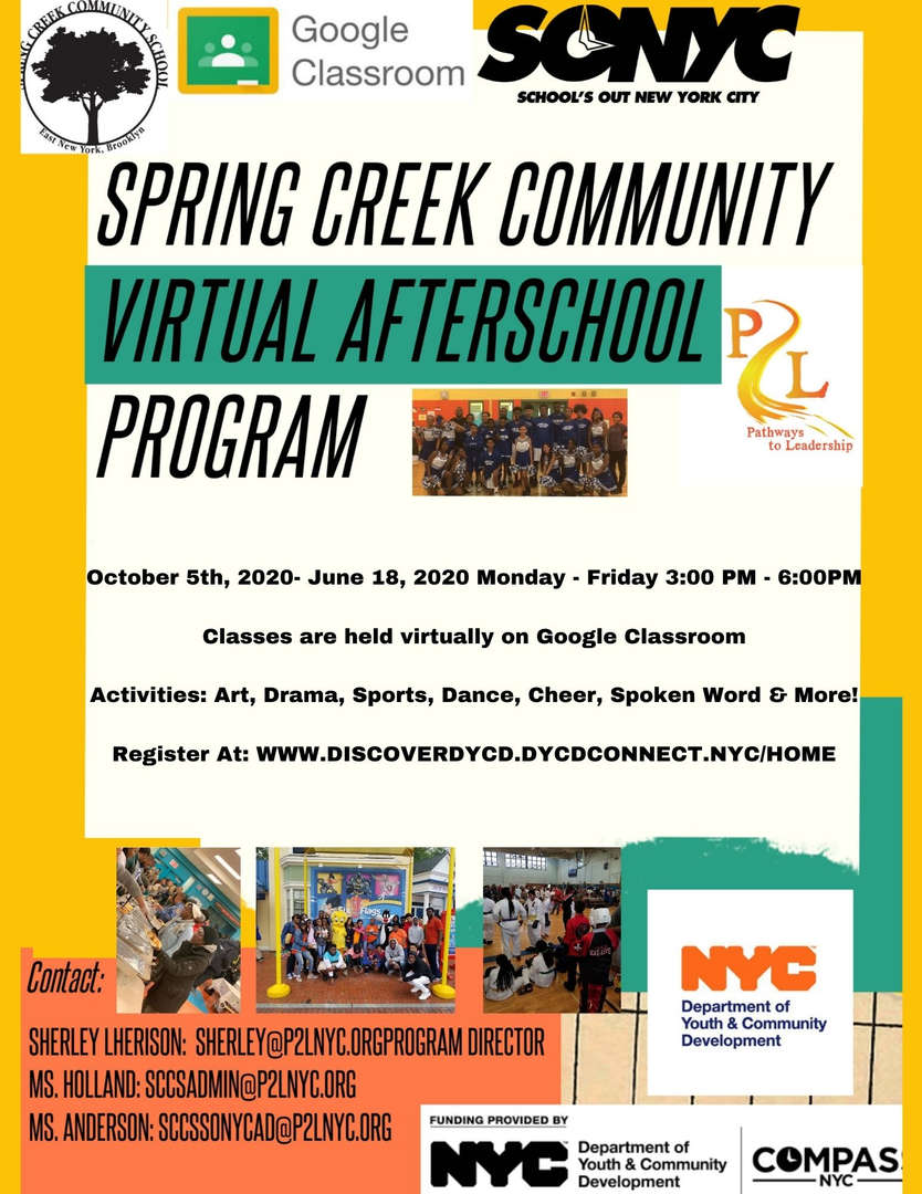 Spring Creek Community Virtual Afterschool Program flyer