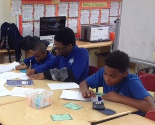 Students working in math class