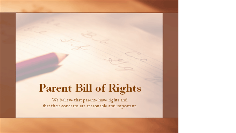 decorative image of the bill of rights for parents
