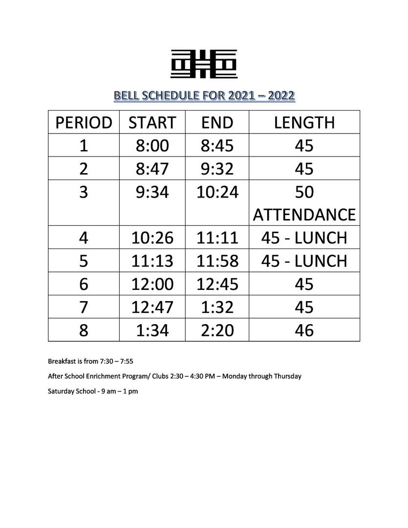 bell schedule new
