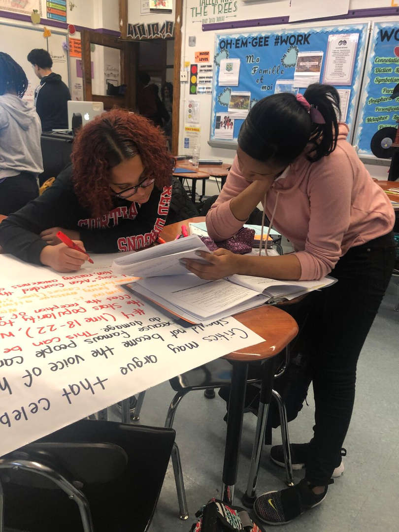 Students working on project together