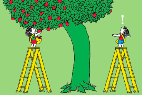 Two kids standing on the same type of ladder reaching for apples in a tree but only one can reach