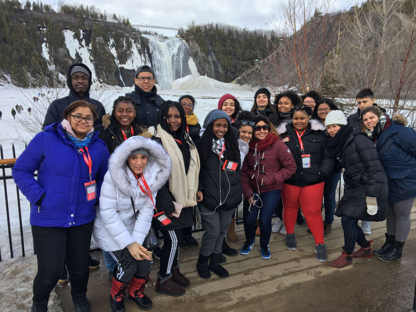 Students on trip in snowy Canada